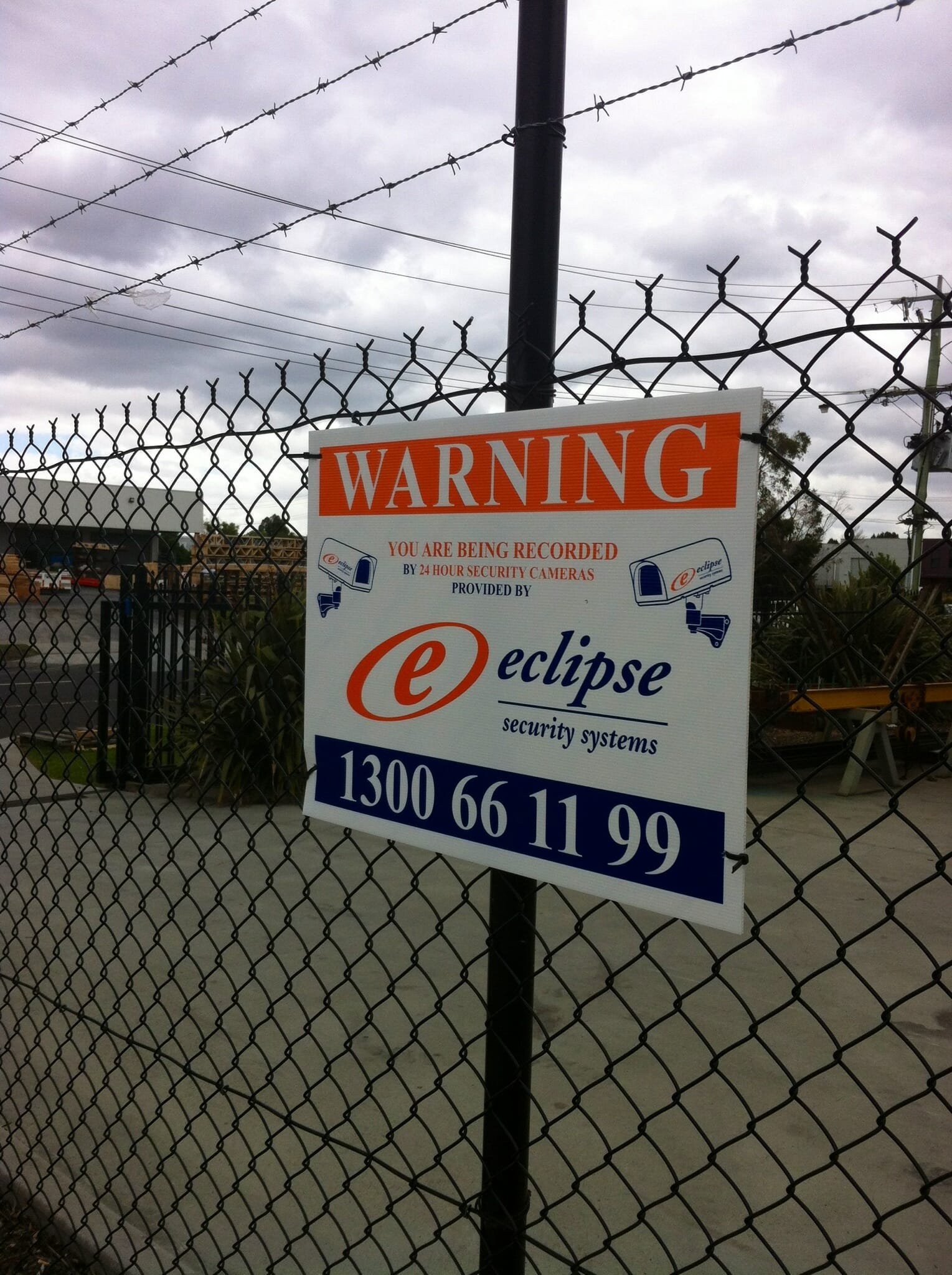 Security Warning Sign, Fence