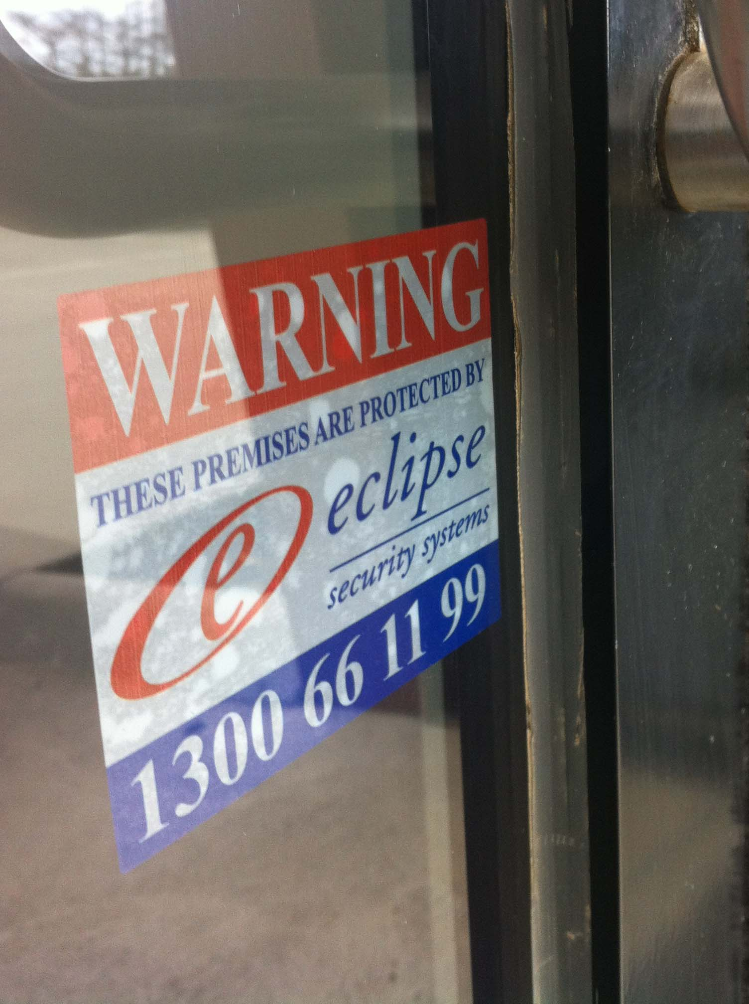 Security Warning Sticker